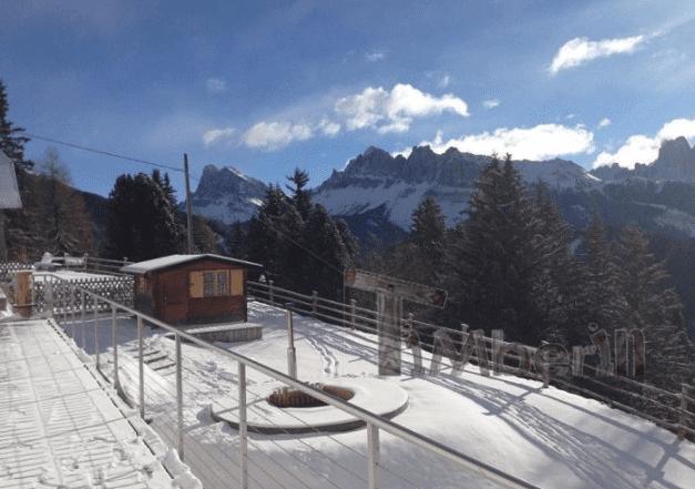Sunken built in hot tub into the terrace winter