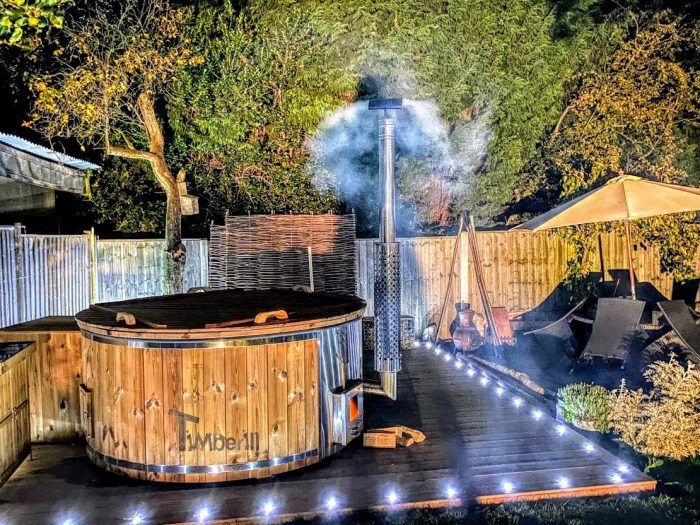 Wood Burning Fiberglass Hot Tub With Integrated Stove Wellness Royal