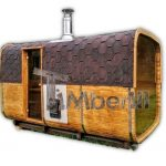 Rectangular barrel wooden outdoor sauna