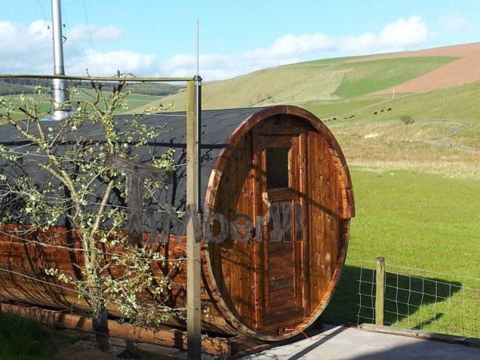 Outdoor barrel sauna Galashiels, UK (1)