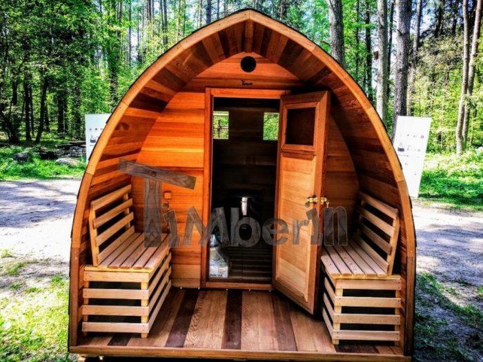 Outdoor Garten Holz Sauna Fasssauna Aussensauna Rote Zeder Mit Elektroheizung Und Veranda (19)